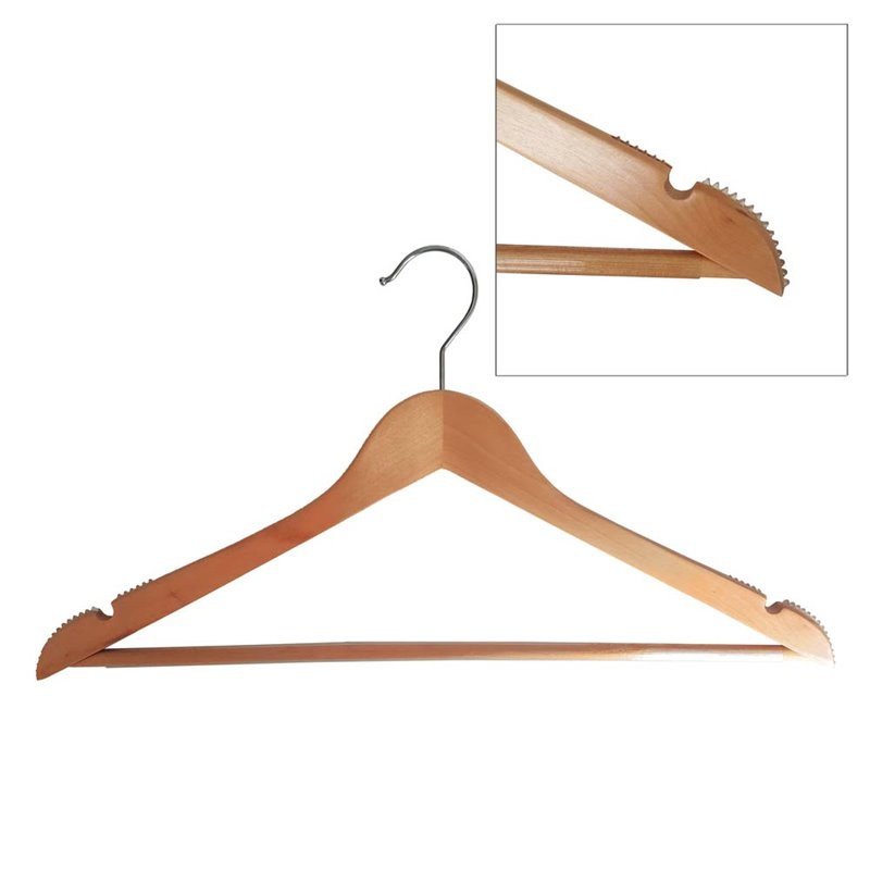 Adult Wood Shirt Hanger Natural with Rubber grip on Sholders and Timber Bar