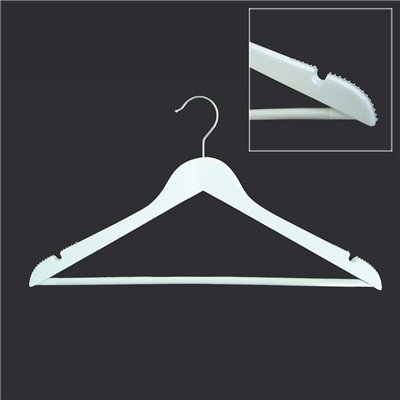 Adult Wood Shirt Hanger White with Rubber grip on Sholders and Timber Bar