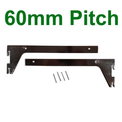 Shelf Bracket Pair 60mm pitch Chrome 300mm with 4 screws