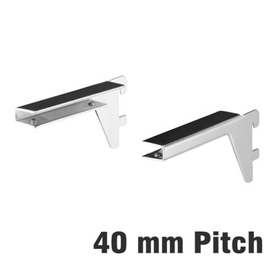 Slimline Glass Shelf Bracket 40mm pitch pair