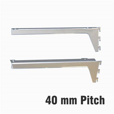 Shelf Bracket 40mm pitch Chrome Pair
