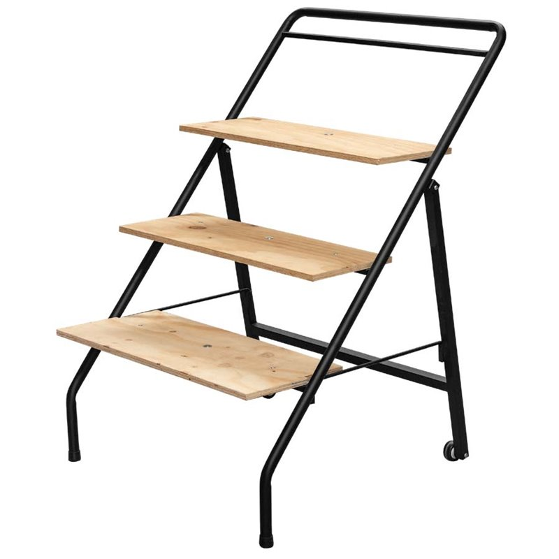 3-Tier trolley with wooden shelves