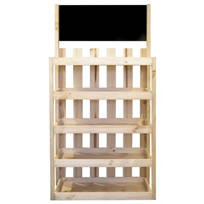 5 Shelf Wooden Display with Chalkboard