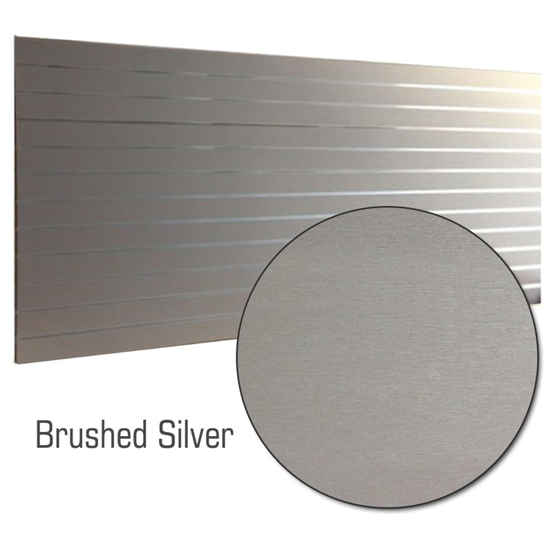 Slat Panel 1200x2400, 100mm Brushed Silver