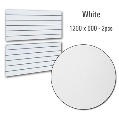 Slatwall Panel White 1200x600 PAIR