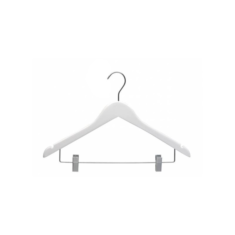 Adult Wood Shirt Hanger with Clips White