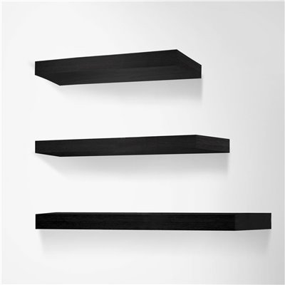3 Piece Floating Honeycomb Board Wall Shelves - Black