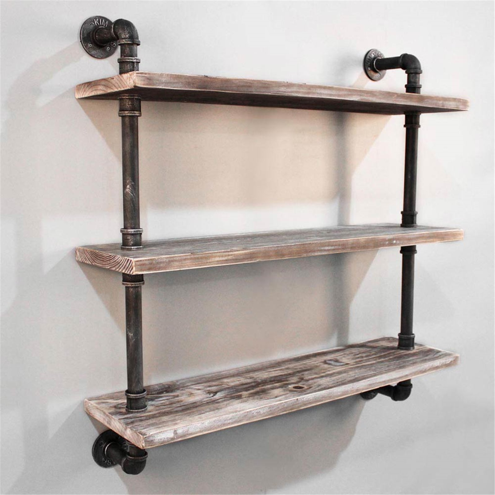 Diy Industrial Pipe Timber Shelves 3 Levels Wide