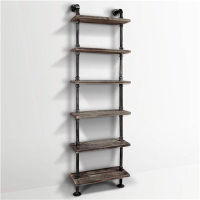 DIY Industrial Pipe Timber Shelves 6 levels