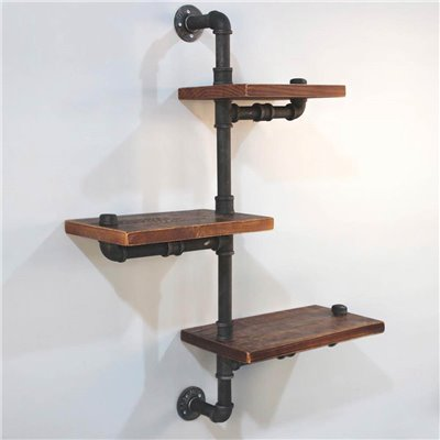 DIY Industrial Pipe Timber Shelves 3 levels