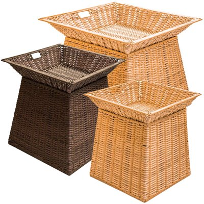 Square Wicker Basket Display Stand