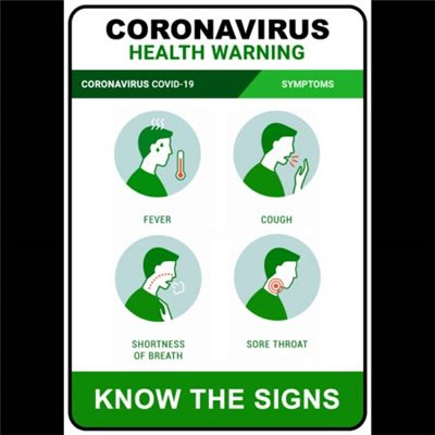 PRINTED ALUMINIUM SIGN - Coronavirus Symptoms Blue