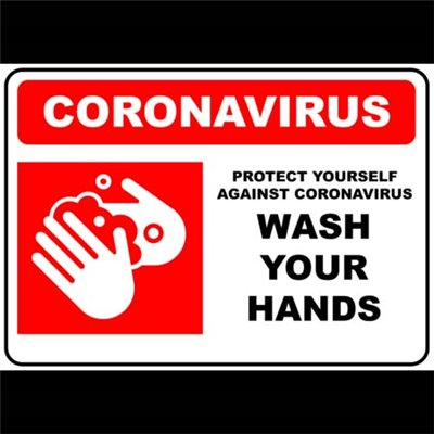 PRINTED ALUMINIUM SIGN - Coronavirus Wash Hands Blue