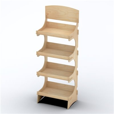 Rustic Shop Shelving Display SYDNEY 4 Tier with Lip