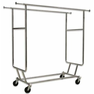 Double Salesman Clothing Rack Chrome