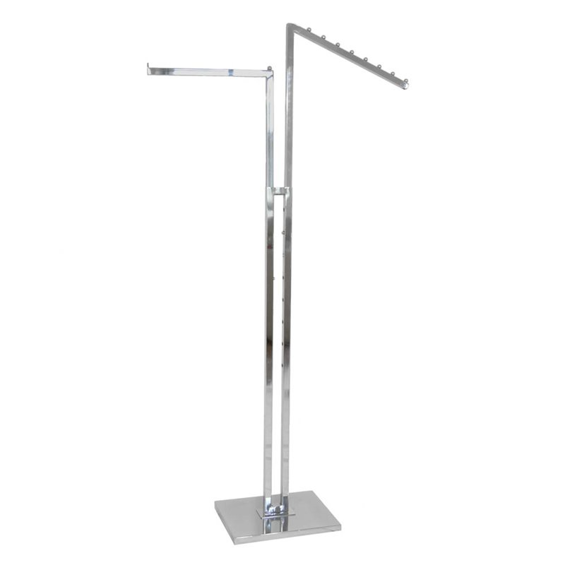 2 Way Clothing Rack With Straight and Waterfall Arms