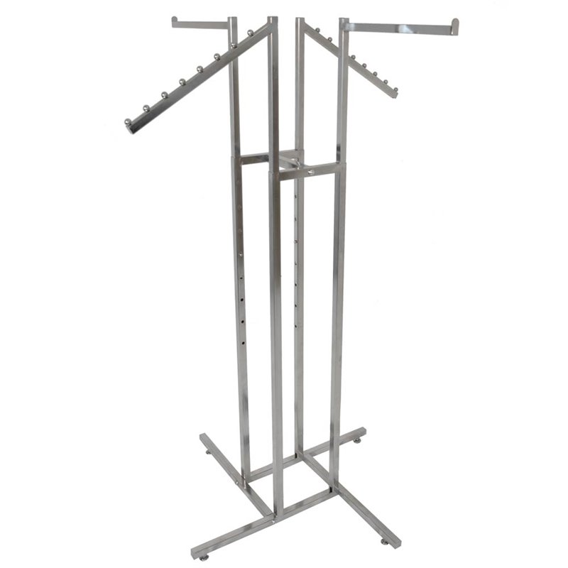 4 Way Clothing Rack With 2 Straight and 2 Waterfall Arms