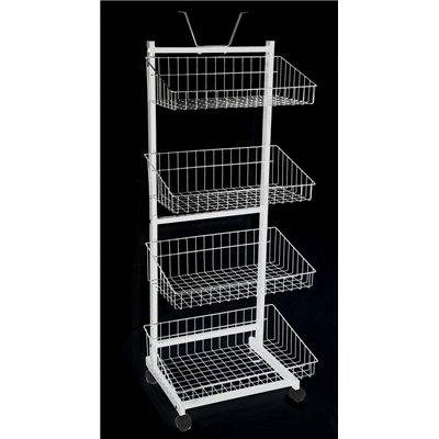 Wire 4 Basket Stand White