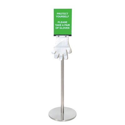 Silver Freestading Glove Stand Dispenser