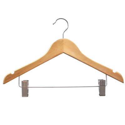 Adult Wood Shirt Hanger with Clips Natural