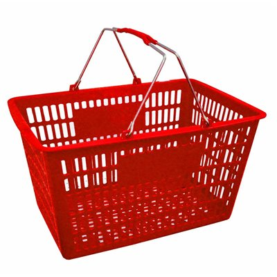 Plastic Shopping Basket 29L Red