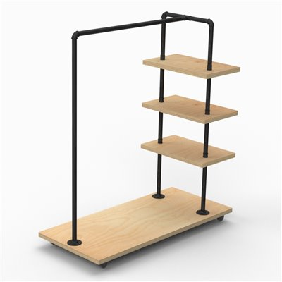 MARIO Stepped Clothes Rack Type C - Black