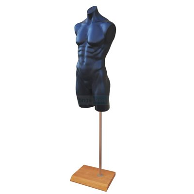 Male Plastic Torso with Base Black