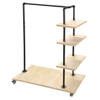 MARIO Clothes Rack with Shelves Type C - Black