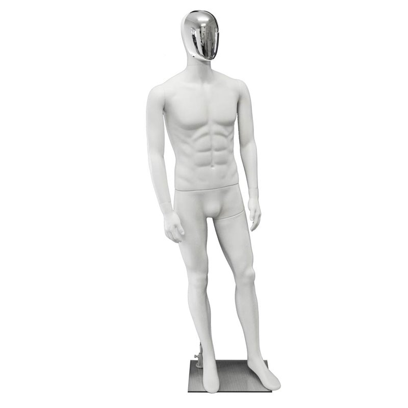 Premium Male Mannequin M22 White - Chrome Face