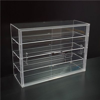 Acrylic Case with 3 Shelves and Sliding Doors