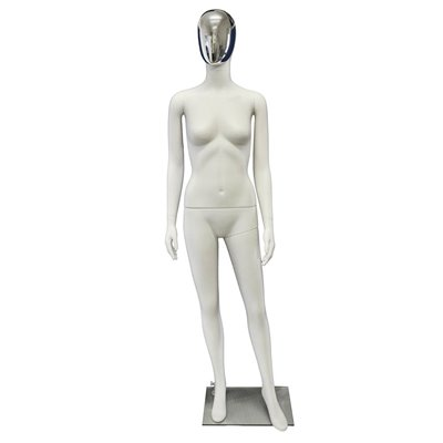 Premium Female Mannequin F48 White - Chrome Face