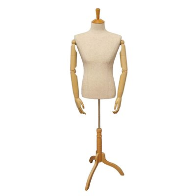 Male Fabric Torso Premium With Wooden Arms and Base