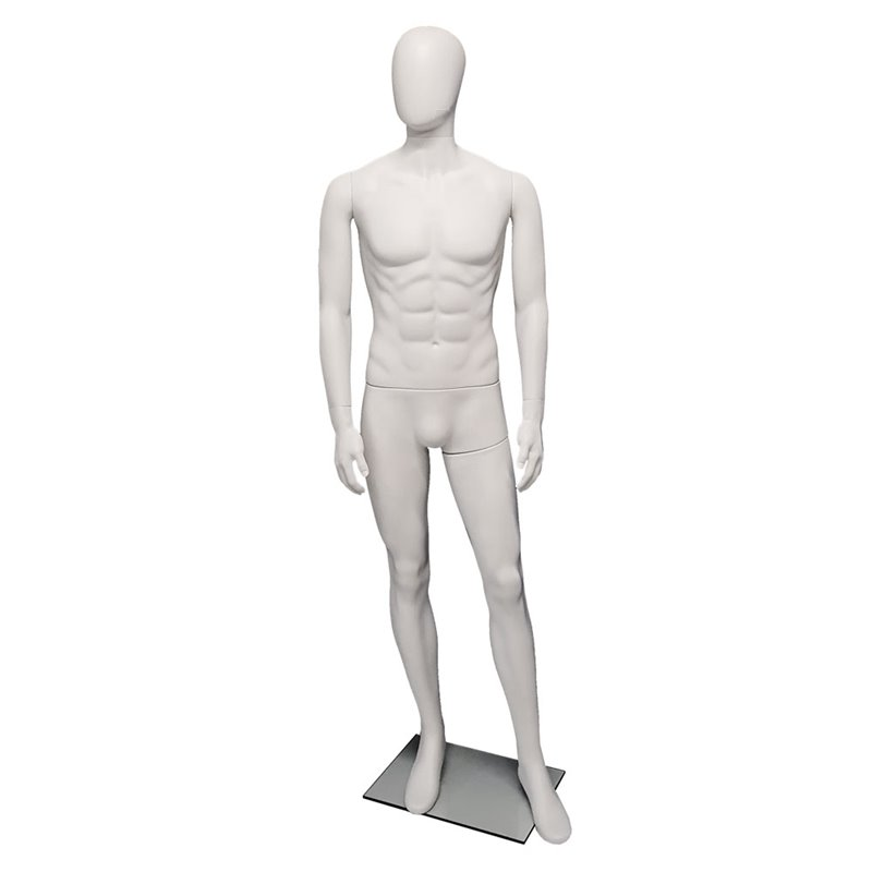 Premium Male Mannequin M22 White Matt - Egg Face